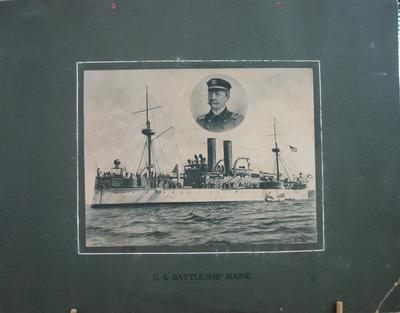 "U.S. Battleship ""Maine"" with insert of Capt. C.D. Sigabee, U.S.N."