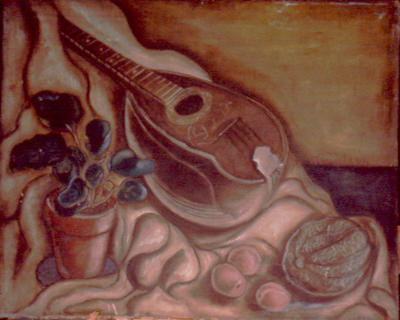 Still Life with Plant, Melon, and Mandolin