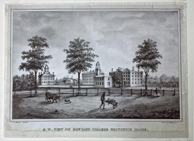 Southwest View of Bowdoin College, Brunswick, Maine
