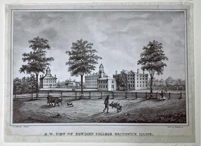 Southwest View of Bowdoin College, Brunswick, Maine