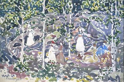Figures Among Rocks and Trees