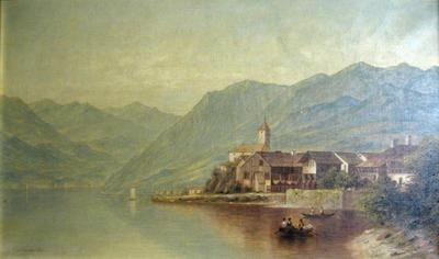 Village and Lake in Switzerland