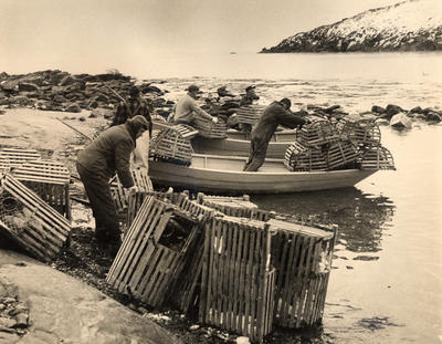 Monhegan, with artist Andrew Winter in the foreground