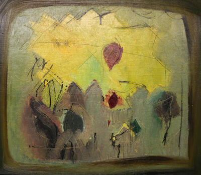 Untitled (Mountains and Red Sun)