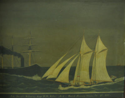 Schooner Daniel Williams (Capt. W.H. Mills) and British Steamer Titian