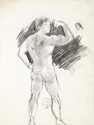 Sketchbook Comprised of Six Sketches: Portrait of Arnold Schwarzenegger