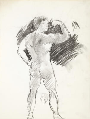 Sketchbook Comprised of Six Sketches: Portrait of Arnold Schwarzenegger, Study No. 8