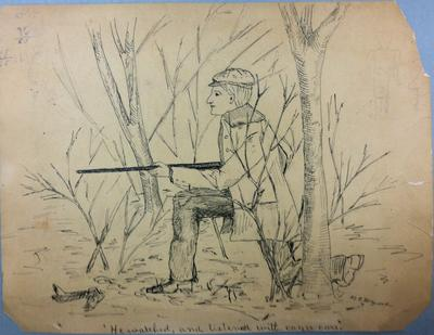 Portrait of Alpha Freeman Leonard, Sr., hunting