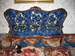Black Walnut Sofa with Gold/Blue Silk Upholstery Print