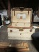 White Canvas Covered Wooden Traveling Trunk
