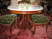 Mahogany Circular Grecian Center Table with Marble Top
