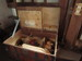 Wooden Flat Top Steamer Trunk with Interior Shelf and Pocket