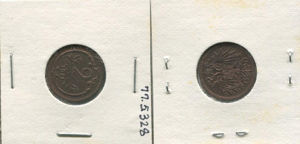 One 2 Heller Bronze Coin, Austria, 1911 - Farnsworth Art Museum